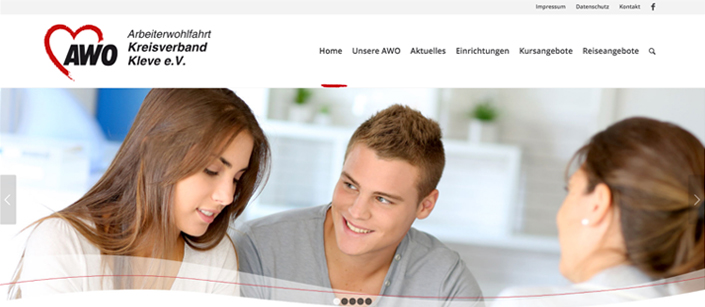 Screenshot Website AWO Kreis Kleve