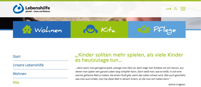 Screenshot Website Lebenshilfe Kleve