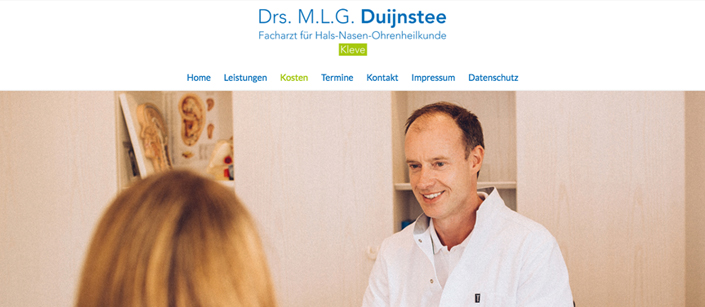 Screenshot Website HNO Drs. Duijnstee