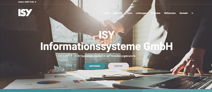 Screenshot ISY Informationssysteme GmbH Website